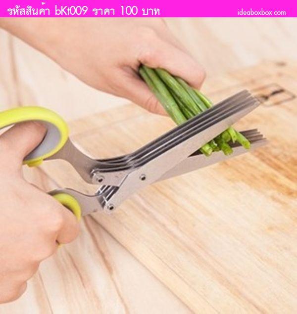 กรรไกรสแตนเลสตัดอาหาร สีเขียวอ่อน