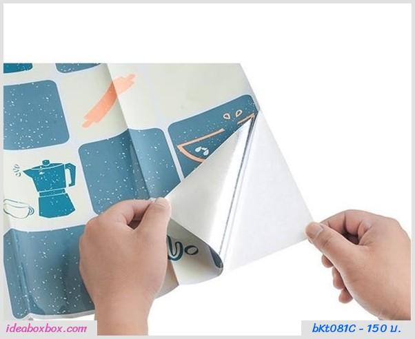 สติ๊กเกอร์กระดาษมันกันน้ำมัน ลายขนมหวาน(2 อัน)