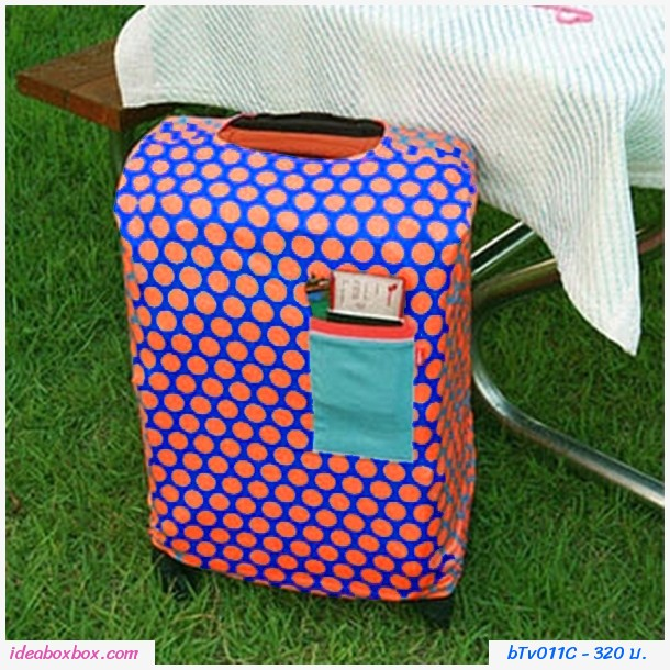 ผ้าคลุมกระเป๋าเดินทางลายจุดใหญ่ สีส้มน้ำเงิน
