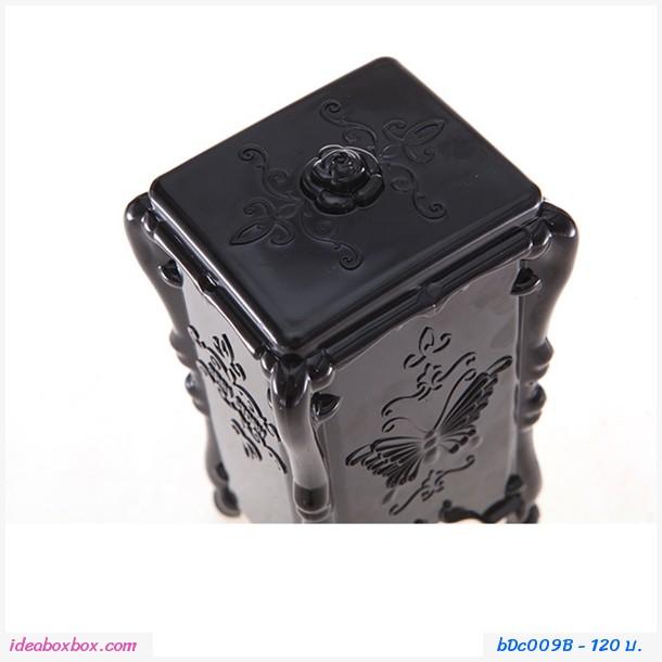 กล่องใส่สำสีเช็ดหน้า Make up and Cleansing สีดำ