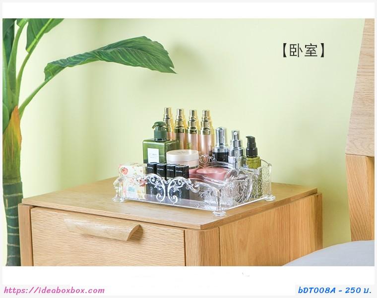 กล่องใส่เครื่องสำอาง 3 ช่อง ลายดอกใบไม้ สีใส