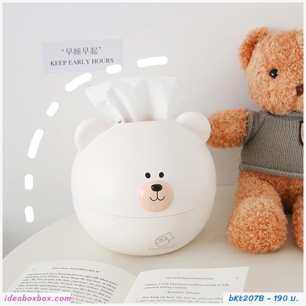 กล่องกระดาษทิชชู่ น้องหมี สีขาว