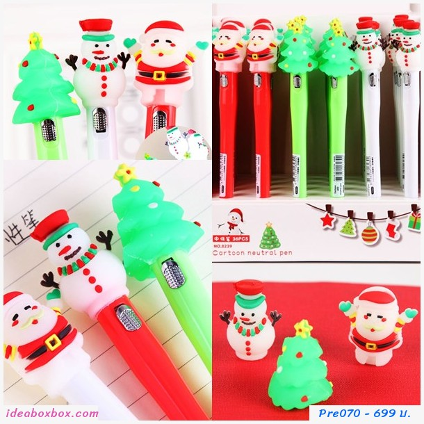 [pre]ปากกาเจล ธีมคริสมาส มีไฟ LED(36 แท่ง)