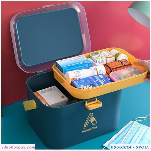 กล่องเก็บยาสามัญประจำบ้าน Medicine Box สีกรม