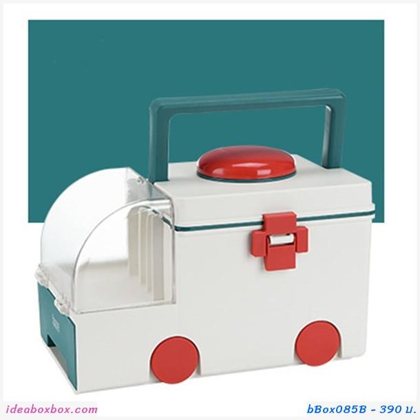กล่องเก็บยาสามัญประจำบ้าน Medicine Box Ambulance สีเขียว