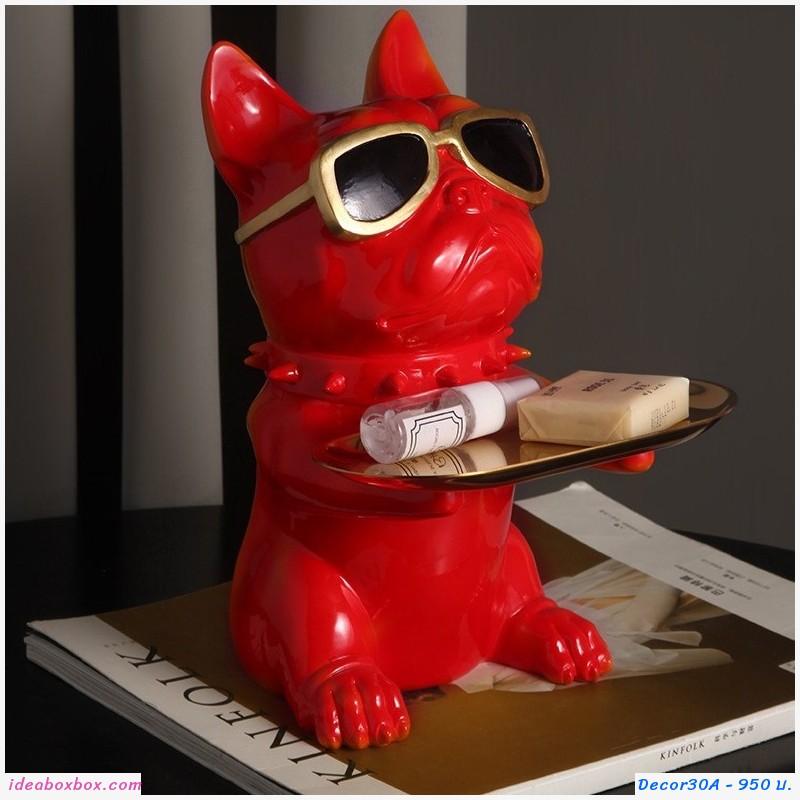 ที่วางของ ตกแต่งบ้าน หมา Bulldog ใส่แว่น สีแดง