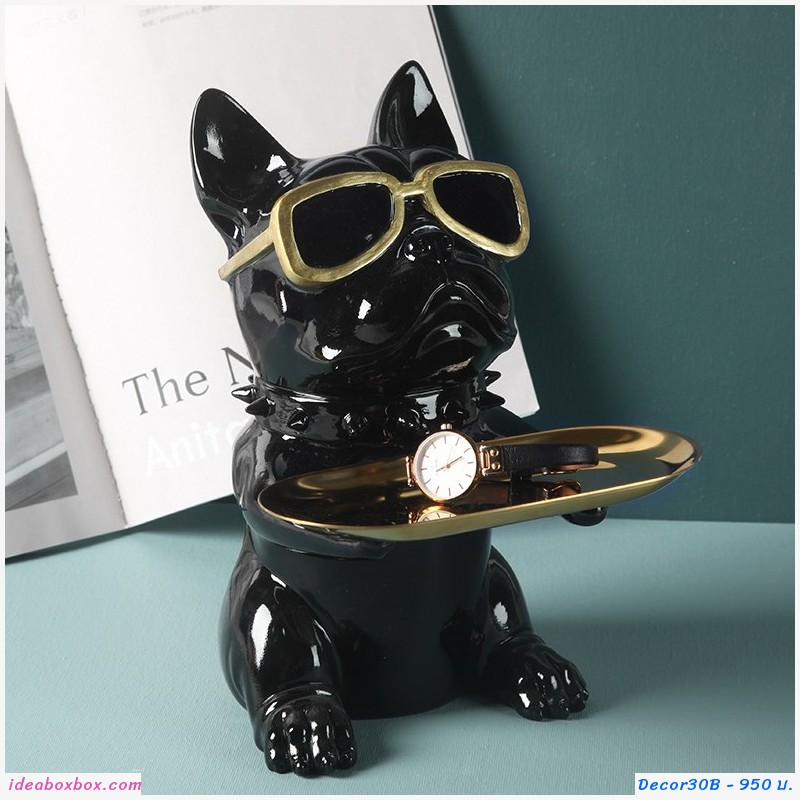 ที่วางของ ตกแต่งบ้าน หมา Bulldog ใส่แว่น สีดำ